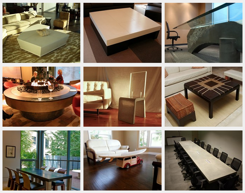 A variety of concrete furniture shared from ConcreteNetwork.com